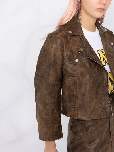 Ganni washed leather short jacket F56116105 - 5