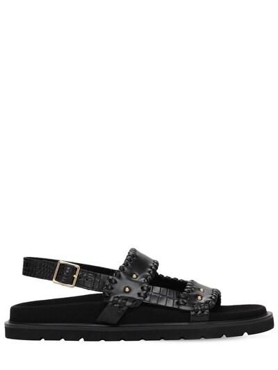 30mm Croc Embossed Leather Flat Sandals Reike Nen 73IX76011-QkxBQ0s1 - 1