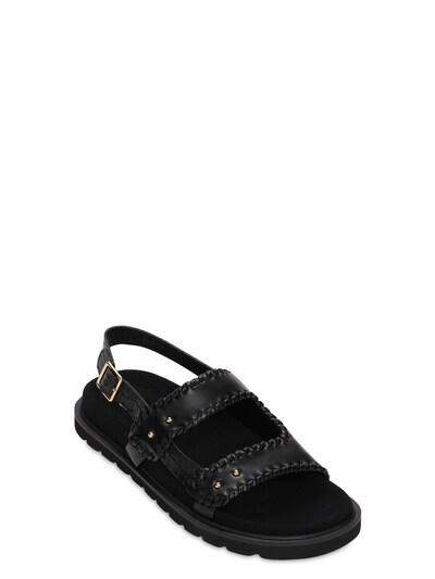 30mm Croc Embossed Leather Flat Sandals Reike Nen 73IX76011-QkxBQ0s1 - 2