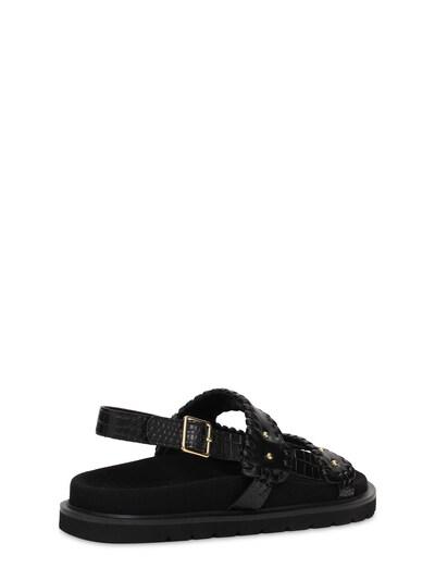 30mm Croc Embossed Leather Flat Sandals Reike Nen 73IX76011-QkxBQ0s1 - 3