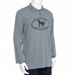 Fendi Grey Cotton Selleria Long Sleeve Polo T-Shirt XXL 359804