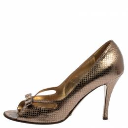 Dolce&Gabbana Gold Python Embossed Leather Peep Toe Bow Pumps Size 38 359931