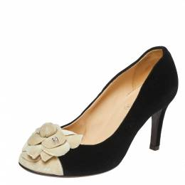 Chanel Black/White Velvet Camellia CC Cap Toe Pumps Size 37 360265