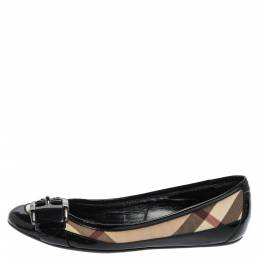 Burberry Black Patent Leather And Coated Canvas Nova Check Buckle Detail Ballet Flats Size 37 357831