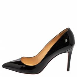 Christian Louboutin Black Patent Leather Pigalle Pointed Toe Pumps Size 39 360732