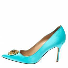 Manolo Blahnik Blue Satin Giuba Embellished Pointed Toe Pumps Size 41 360731