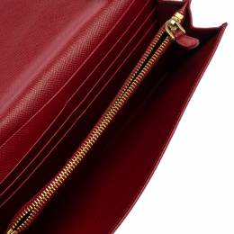 Prada Red Saffiano Lux Leather Wallet on Chain 360771