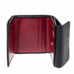 Bally Black Textured Leather Tri Fold Wallet 360779