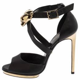 Roberto Cavalli Black Leather Lion Head Embellished Ankle Strap Sandals Size 36.5 360214