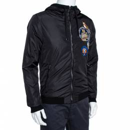 Dolce&Gabbana Black Owl Patched Hoodie Bomber Jacket M 360395