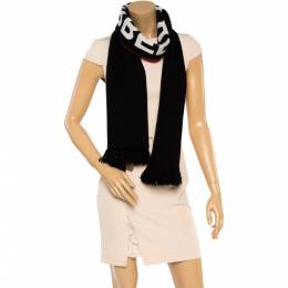 Burberry Bicolor Logo Intarsia Knit Cashmere Football Scarf 359900