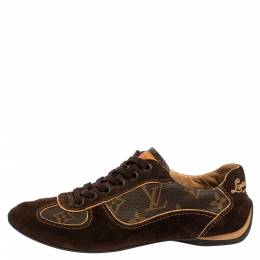 Louis Vuitton Brown Suede And Monogram Canvas Energie Low Top Sneakers Size 35 360697