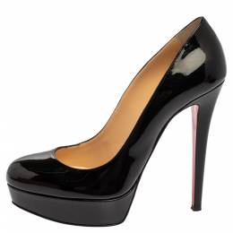 Christian Louboutin Black Patent Leather Bianca Platform Pumps Size 39 360706