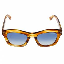 Tom Ford Brown/Blue Gradient Greta Wayfarer Sunglasses 360440