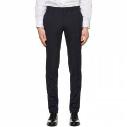 Z Zegna Navy Wool Slim Trousers 8ZF100 73NDC2