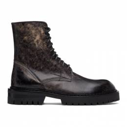Ann Demeulemeester SSENSE Exclusive Black Distressed Tucson Lace-Up Boots 9999-4220-320-099