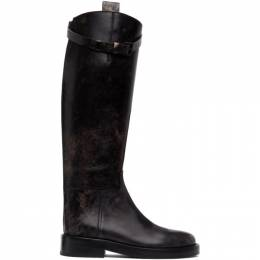Ann Demeulemeester SSENSE Exclusive Black Distressed Buckle Riding Boots 9999-4200-320-099