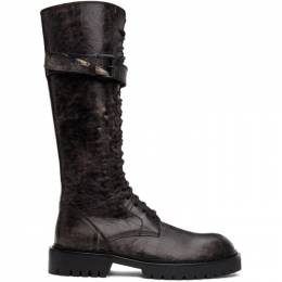 Ann Demeulemeester SSENSE Exclusive Black Distressed Buckle Riding Boots 9999-4222-320-099