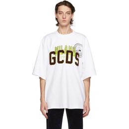 GCDS White Over Nascar T-Shirt FW21M020058