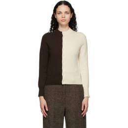 Extreme Cashmere Brown and Off-White Cashmere N°140 Little Game Cardigan