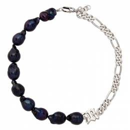 Misbhv Silver and Purple Pearl Liquid Necklace 120A114