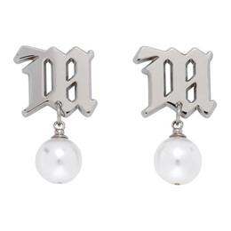 Misbhv Silver Pearl Monogram Earrings 120A107