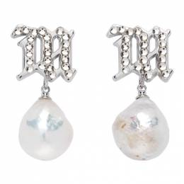 Misbhv Silver and Off-White Pearl Crystal Earrings 120A131