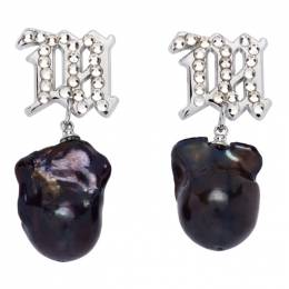 Misbhv Silver and Navy Pearl Crystal Earrings 120A132