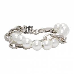 Misbhv Off-White Pearl Twisted Chain Bracelet 120A145