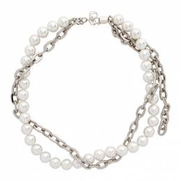 Misbhv Off-White and Silver Pearl Chain Choker Necklace 120A146