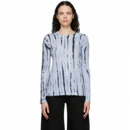 Proenza Schouler Blue and Black Jersey Tie-Dye T-Shirt R2114021/22490
