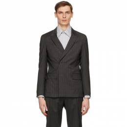 Z Zegna Grey Wool Striped Double-Breasted Blazer 844726 1 DUSG0
