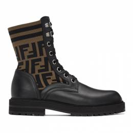 Fendi Black and Brown Forever Fendi Lace-Up Boots 7U1398 A8C7