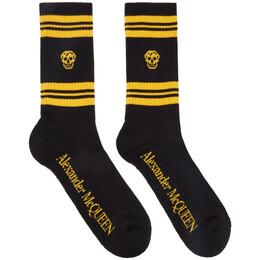 Alexander McQueen Black and Yellow Skull Sport Socks 5734584C05Q