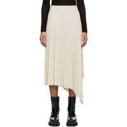 Joseph White Swinton Pleated Ribbed Skirt JF005241