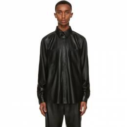 Nanushka Black Vegan Leather Declan Shirt NM20FWSH02499