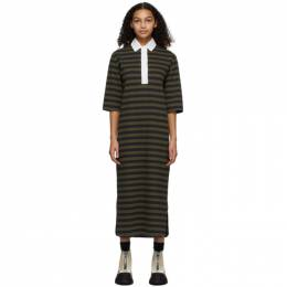 Ganni Khaki and Black Striped Polo Dress T2630