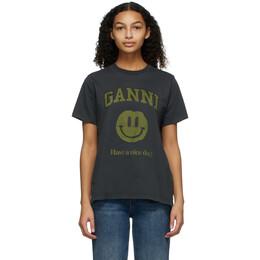 Ganni Grey Smiley T-Shirt T2639