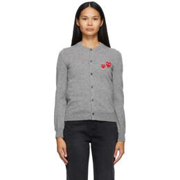 Comme Des Garcons Play Grey Asymmetric Double Heart Cardigan N071