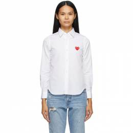 Comme Des Garcons Play White Heart Patch Shirt P1B001