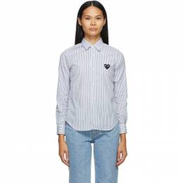 Comme Des Garcons Play White and Blue Striped Heart Patch Shirt P1B019
