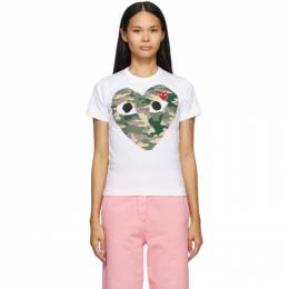 Comme Des Garcons Play White Camo Heart T-Shirt T241