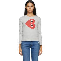 Comme Des Garcons Play Grey Horizontal Heart Long Sleeve T-Shirt T267