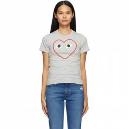 Comme Des Garcons Play Grey Outline Heart T-Shirt T265