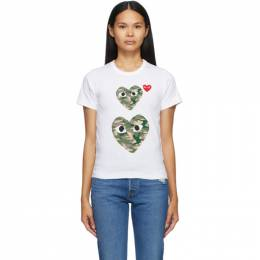 Comme Des Garcons Play White and Camo Double Heart T-Shirt P1T245