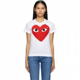 Comme Des Garcons Play White Large Double Heart T-Shirt T025
