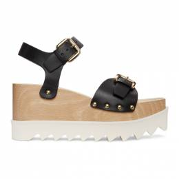 Stella McCartney Black and White Faux-Leather Elyse Sandals 800317W1DX0