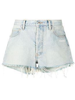 Off-White выбеленные джинсовые шорты с бахромой OWYC002R207730687100
