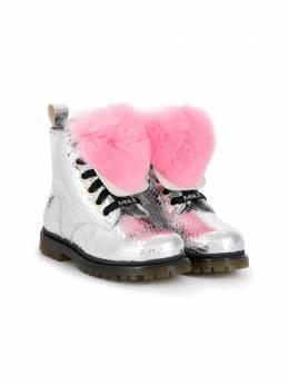 Monnalisa ботинки на шнуровке с помпоном 8C60266719