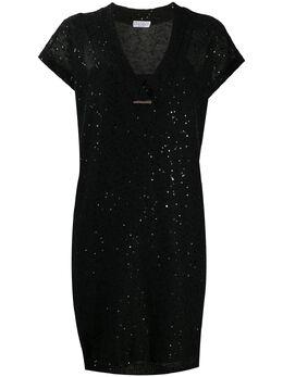 Brunello Cucinelli платье-футболка с пайетками M10551A82CV835